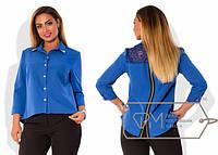 Батальная женская блуза со вставкой гипюра на спине и молнией