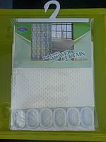 Штора для ванной комнаты однотонная тканевая молочная