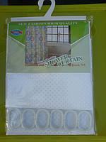 Штора для ванной комнаты однотонная тканевая белая