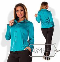 Женская батальная шелковая блуза