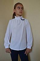 Блузка на девочку в школу под горло 122-152