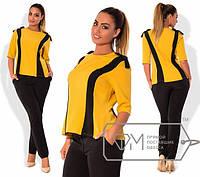 Женский осенний  брючный костюм большого размера брюки+ блуза
