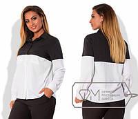 Стильная женская двухцветная блуза, большие размеры