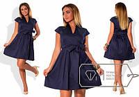 Женское платье из плотного коттона большого размера