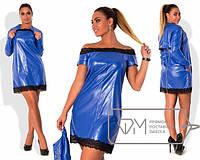 Женское платье + балеро из эко-кожи большого размера