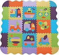 Детский игровой коврик-пазл Baby Great «Быстрый транспорт» с бортиком, фото 1