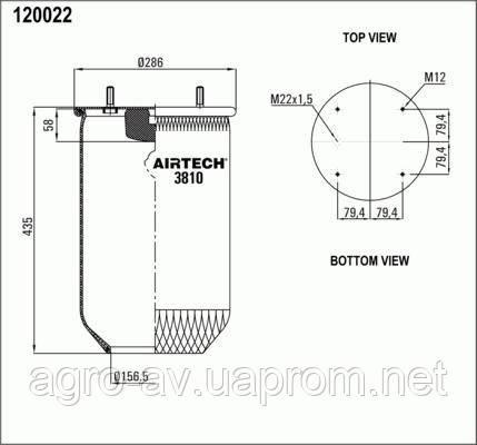 Пневморессора (3810P) без стакана (пр-во Airtech)