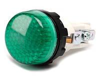 Арматура сигнальная 22мм с зажимами лампа 220В зелёная