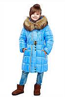 Курточка для девочки с шикарным меховым воротником