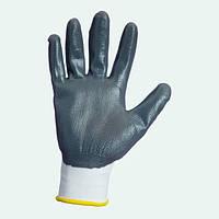 Перчатки нейлоновые с нитриловым покрытием, серые, гладкие. Долони, №4525