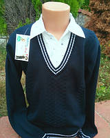 Школьный трикотажный пуловер-обманка  для мальчика