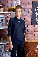 """Блуза молодежноя темно-синяя """"Стелла""""."""