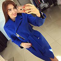 Пальто женское Риксос синее , пальто женское