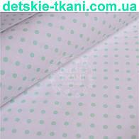 Ткань хлопковая Mist с мятным горошком на белом фоне ( № 345м)