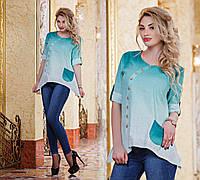 """Женская стильная рубашка-туника до больших размеров 2821 """"Лён Амбре"""" в расцветках"""