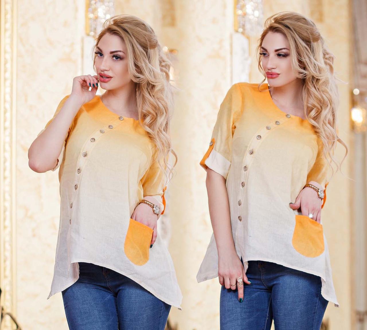 """Женская стильная рубашка-туника до больших размеров 2821 """"Лён Амбре"""" в расцветках - """"Пальмира"""" - прямой поставщик модной одежды оптом и в розницу от производителя в Одессе"""