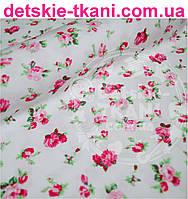 Ткань хлопковая Mist с розочками на белом фоне ( № 368м)