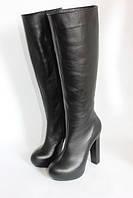 Женские кожаные сапоги на высоком каблуке, фото 1