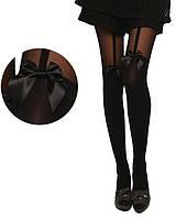 Женские стильные колготки с имитацией чулков чулки бантик