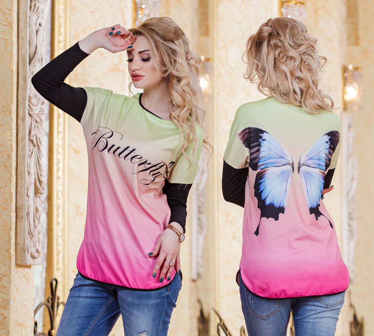 """Женская стильная туника в больших размерах 799 """"Butterfly"""" - """"Пальмира"""" - прямой поставщик модной одежды оптом и в розницу от производителя в Одессе"""
