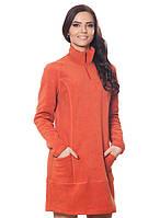 Теплое женское флисовое платье ярко-оранжевого цвета.Не дорого