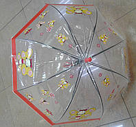 Зонт трость детская прозрачная, полугрибок