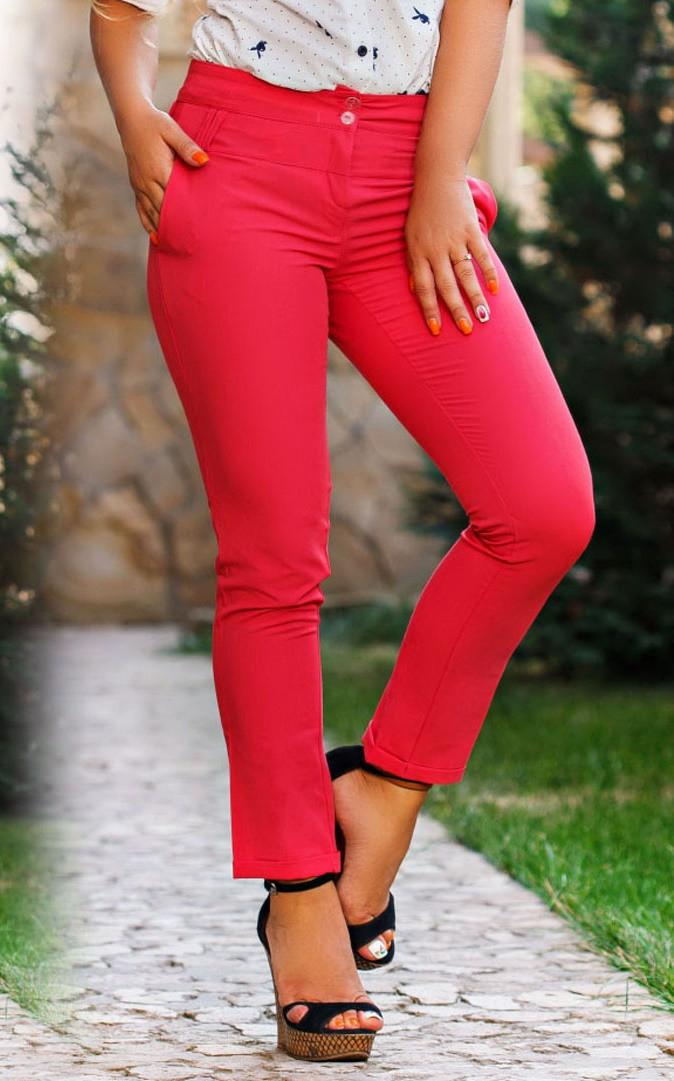 Д656  Женские брюки  с подворотом  Коралл
