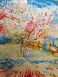 """Шелковый платок в стиле картины Ван Гога """"Персиковое дерево"""" 85х85 см (цв.16), фото 2"""