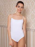 Белое бельевое женское хлопковое боди-майка c трусиками-стринг