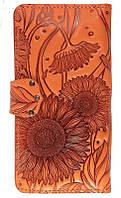 Шикарные кожаные женские кошельки  с тиснением восточный узор огурцы. Ассортимент. Украина Украина