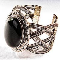 Браслет черный Агат широкий скобка  металл узор полумесяц овальная