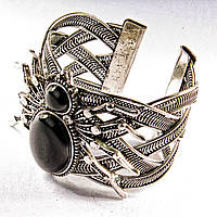 Браслет черный Агат широкий скобка  металл паук со стразами