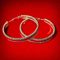 [75 мм] Серьги-кольца итальянский замок с белыми стразами большого размера светлый металл с красными кожаными вставками
