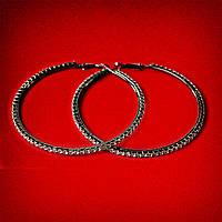 [75 мм] Серьги-кольца итальянский замок с черными стразами большого размера черный металл