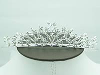Фигурная свадебная диадема в кристаллах. Эффектные свадебная бижутерия для волос оптом. 53