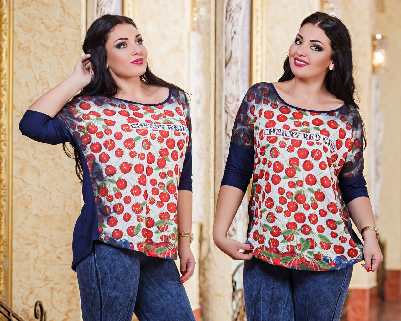 """Женская стильная туника в больших размерах 2814 """"CHERRY RED GIRL"""" - """"Пальмира"""" - прямой поставщик модной одежды оптом и в розницу от производителя в Одессе"""