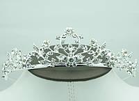 Красивая кристальная диадемы для невест. Недорогая свадебная бижутерия для волос оптом. 55