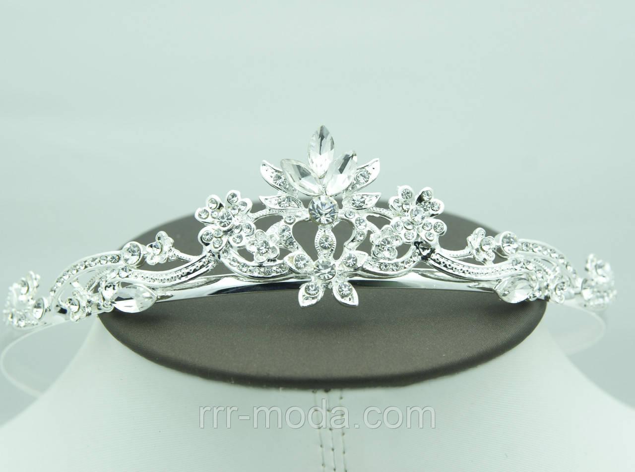 Изящная свадебная тиара и диадема с камнями. Выгодная свадебная бижутерия  для волос оптом. 56 2b5ff7ec9b8
