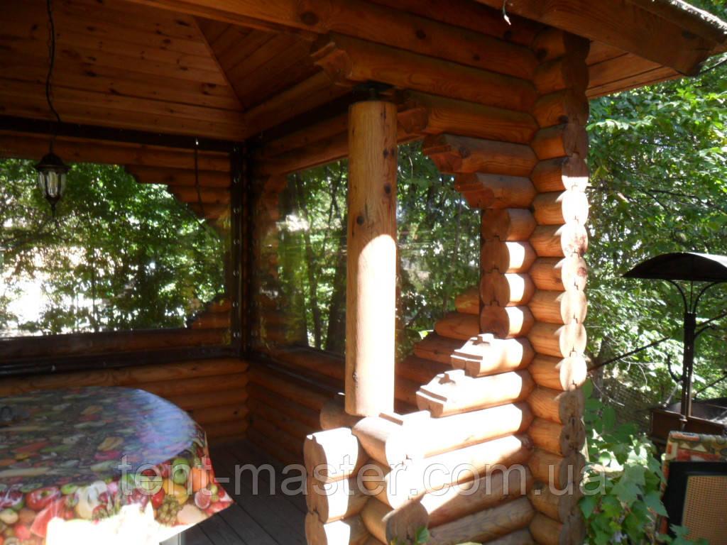 Прозрачные ПВХ  шторы  для деревянных беседок