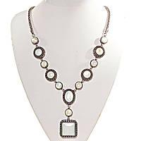 Колье с Перламутром в металле под серебро, круглые, квадратные, овальные камни 10,12,20мм, длина 50с