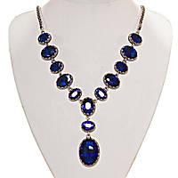 """Колье с синими кристаллами   """"13 камней"""" оправа """"зубчик"""" 3,2см, L-60см"""