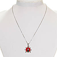 [ мм] Кулон на цепочке Божья Коровка (15 мм) красная черная эмаль серый металл