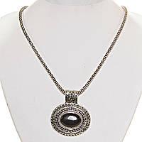 [25х20 мм] Кулон с натуральным камнем черный Агат ажурная оправа двойная овальная серый металл