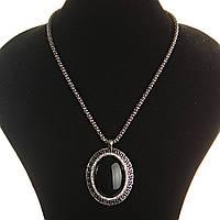 [30х40мм] Кулон на цепочке Агат крупный темно серый металл греческая оправа  со стразами овальная