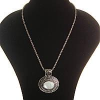 Кулон на цепочке Перламутр крупный темно серый металл ажурная оправа двойная овальная