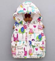 Яркая демисезонная детская жилетка для девочек, 2-6 лет