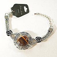 Браслет светлый метал - бусины, розы Тигровый Глаз 25 мм