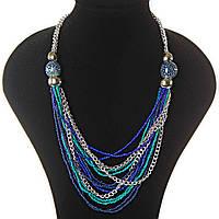 Цепочки, Светлый, Темный Металл, Голубые, Синие, Бирюзовые, Пятнистые Бусины Различных Размеров Ожерелье