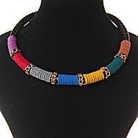 Ожерелье Этно черная плетенка вставки из ткани: фиолетовый, красный