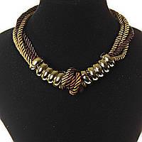 [25/8 мм] Ожерелье коричневых оттенков из канатов с узелками с декором из золотистых колец
